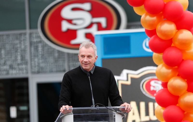 In this Oct. 21, 2018 file photo, former San Francisco 49ers quarterback Joe Montana speaks at a ceremony in Santa Clara, Calif. Hall-of-Fame quarterback Montana, looking to hit pay dirt in the legal marijuana industry, is part of a $75 million investment in a pot operator, it was announced Thursday, Jan. 24, 2019. San Jose, California-based said it will use the investment to grow a company that includes a farm, a retail store, distribution center and a delivery service. (AP Photo/Tony Avelar, File)