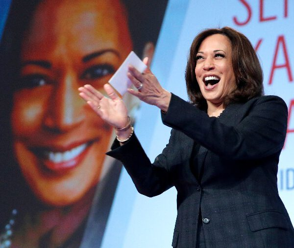 """In this March 1, 2019 file photo Sen. Kamala Harris, D-Calif., speaks at the Black Enterprise Women of Power Summit, in Las Vegas. A growing list of Democratic presidential contenders want the U.S. government to legalize marijuana, reflecting a nationwide shift. Harris says it's the """"smart thing to do."""" (AP Photo/John Locher, File)"""