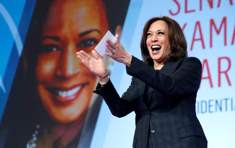 "In this March 1, 2019 file photo Sen. Kamala Harris, D-Calif., speaks at the Black Enterprise Women of Power Summit, in Las Vegas. A growing list of Democratic presidential contenders want the U.S. government to legalize marijuana, reflecting a nationwide shift. Harris says it's the ""smart thing to do."" (AP Photo/John Locher, File)"