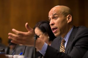 In this March 6, 2019 file photo Sen. Cory Booker, D-N.J., questions U.S. Customs and Border Protection Commissioner Kevin McAleenan during a hearing in Washington. A growing list of Democratic presidential contenders want the U.S. government to legalize marijuana, reflecting a nationwide shift. Booker has sponsored a legalization bill and it's supported by Kamala Harris and fellow Sens. Kirsten Gillibrand of New York, Elizabeth Warren of Massachusetts and Bernie Sanders of Vermont. (AP Photo/Alex Brandon, File)