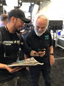 Senior Videographer Adam Saldana Shares a laugh with cannabis icon Tommy Chong at MJBizCon 2019.