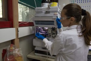 A member of the CannRx research team running samples. Image courtesy of CannRx.
