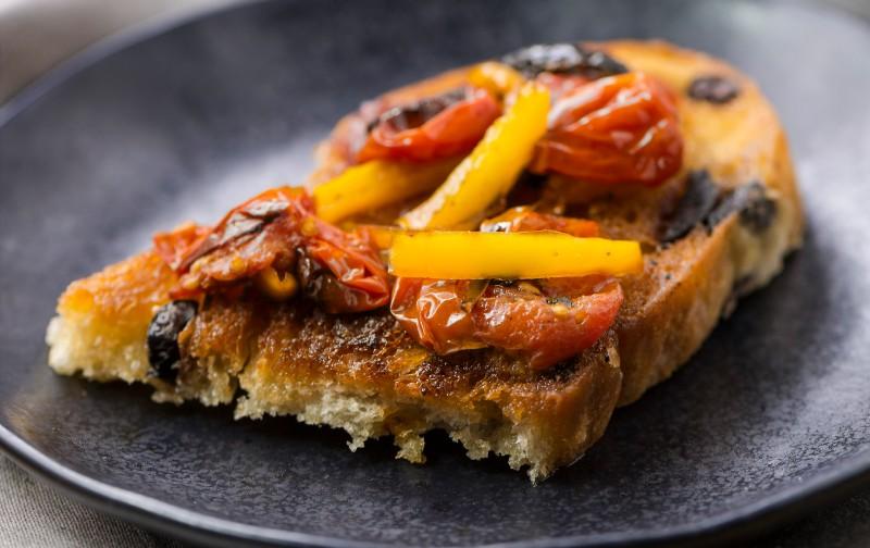 Roasted Cherry Tomato Bruschetta with Goat Cheese